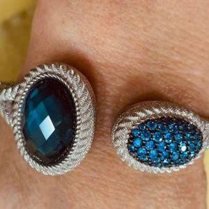 Judith Ripka Hinged Cuff Bracelet Silver w/ Sapphi